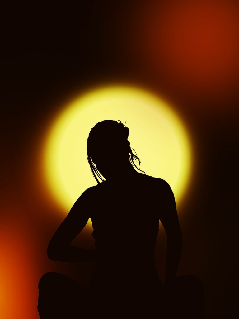silhouette, woman, meditation