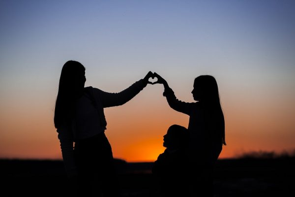 sisters, heart, sunset